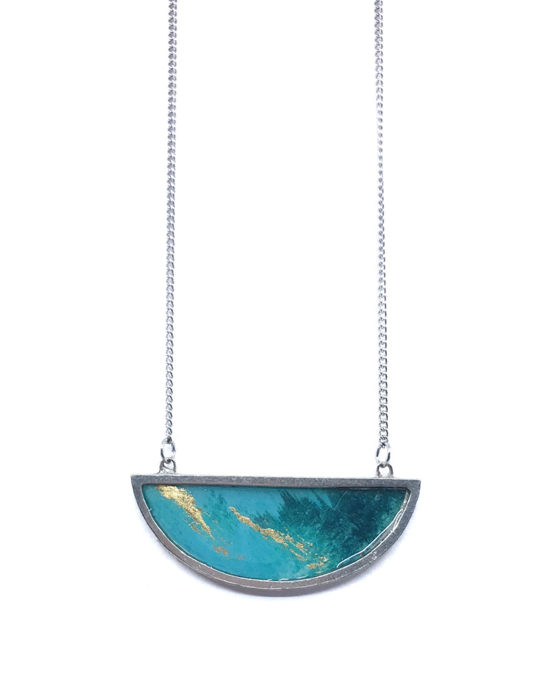Bella Necklace - Pewter, Turquoise and Gold