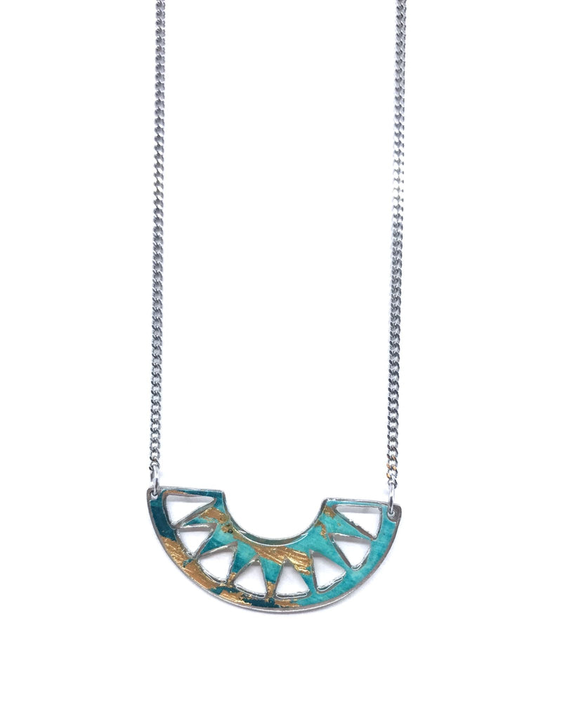 Cora necklace - Turquoise and gold pewter