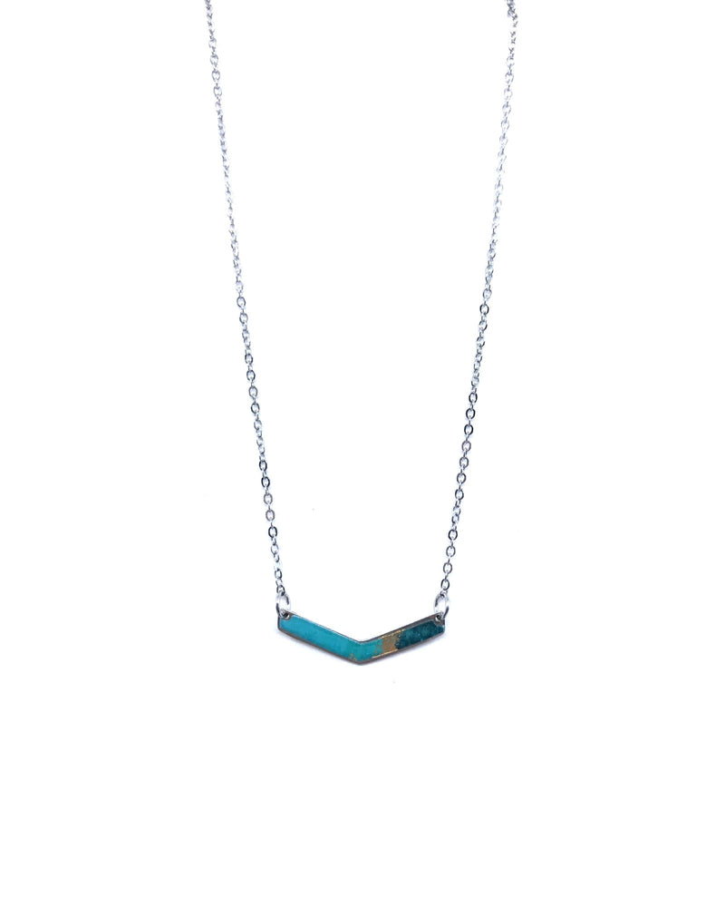 Chevron Necklace - Pewter, Turquoise and Gold