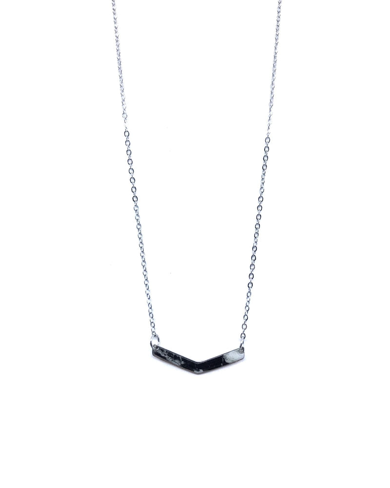 Chevron Necklace - Pewter, Black Marble