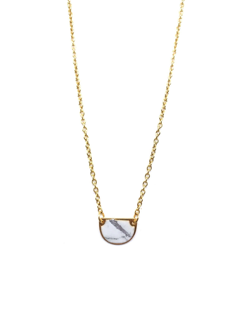 Beatrice Necklace - White Marble Gold Plated