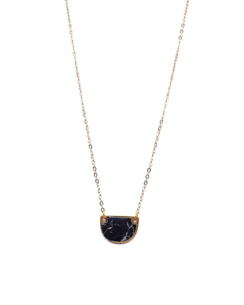 Beatrice Necklace - Gold Plated Black Marble