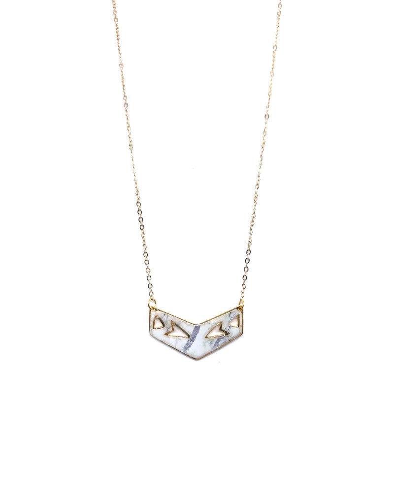 Gigi Necklace - Gold plated, White marble