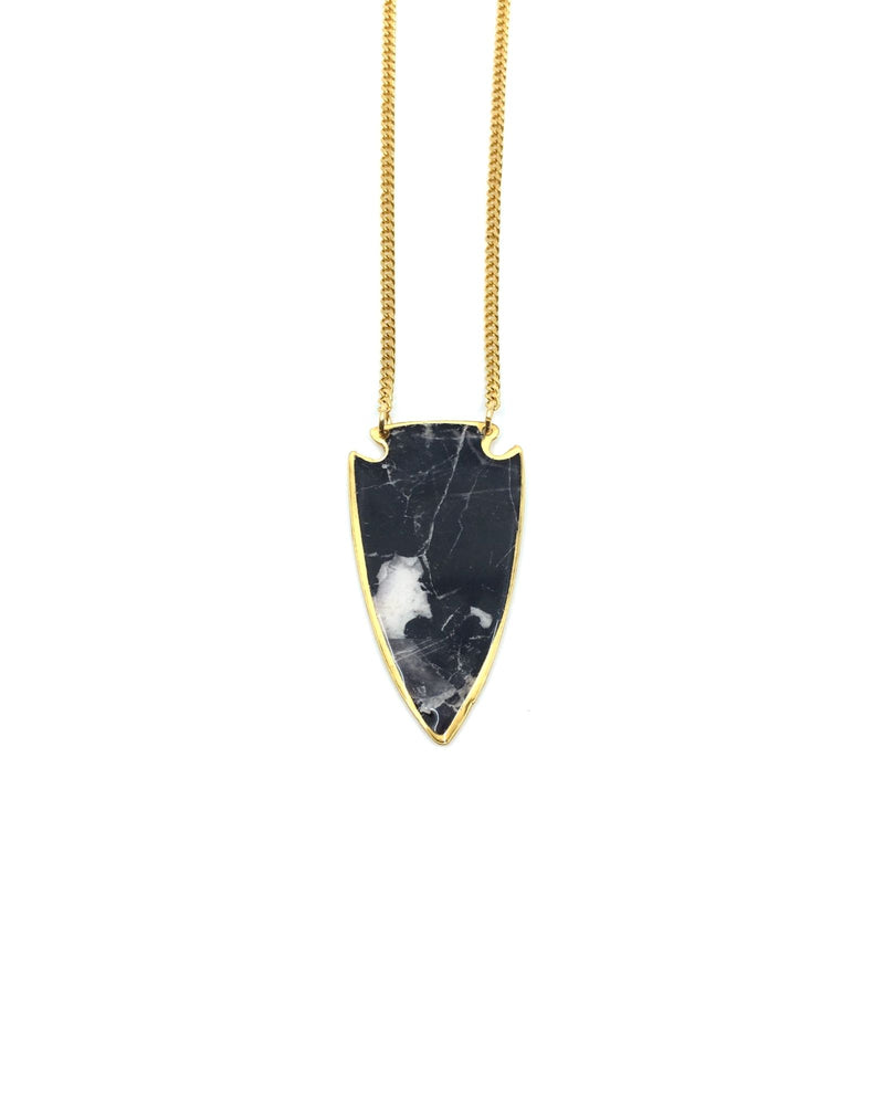 Daya Long Necklace - Gold Plated, Black Marble