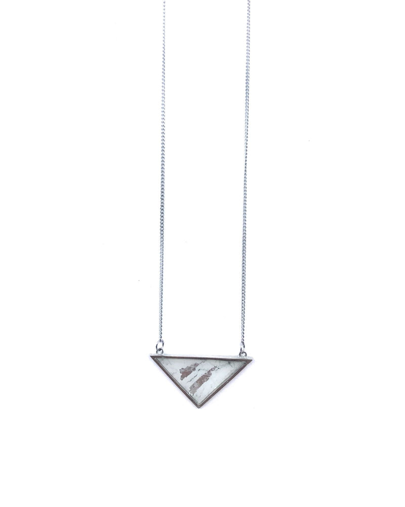 Long Iris Necklace - White Marble Pewter