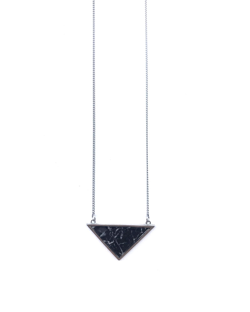 Long Iris Necklace - Pewter, Black Marble