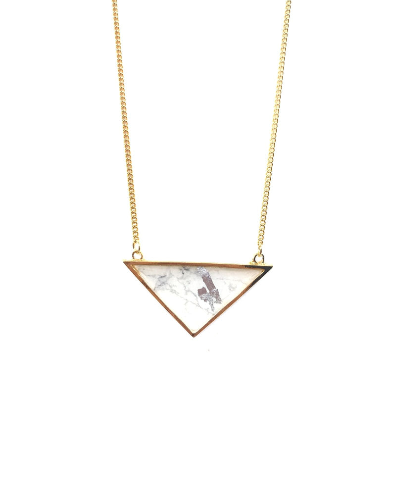 Long Iris Necklace - Gold Plated, White Marble
