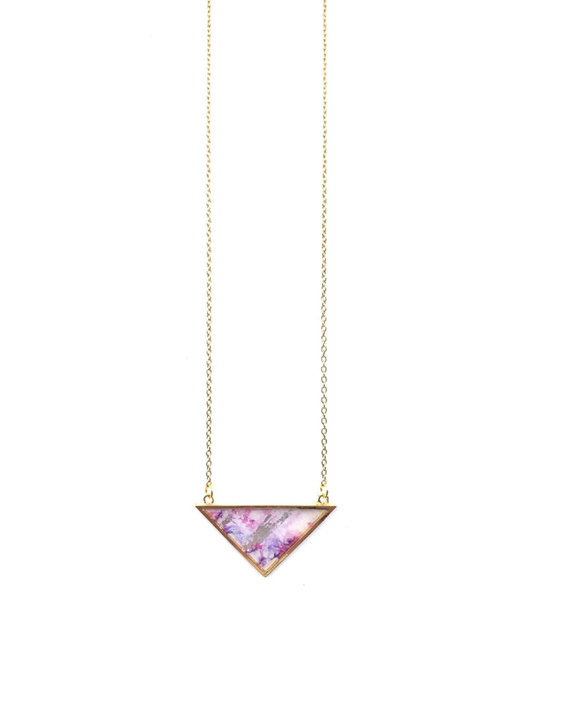 Long Iris Necklace - Gold plated, Shades of pink