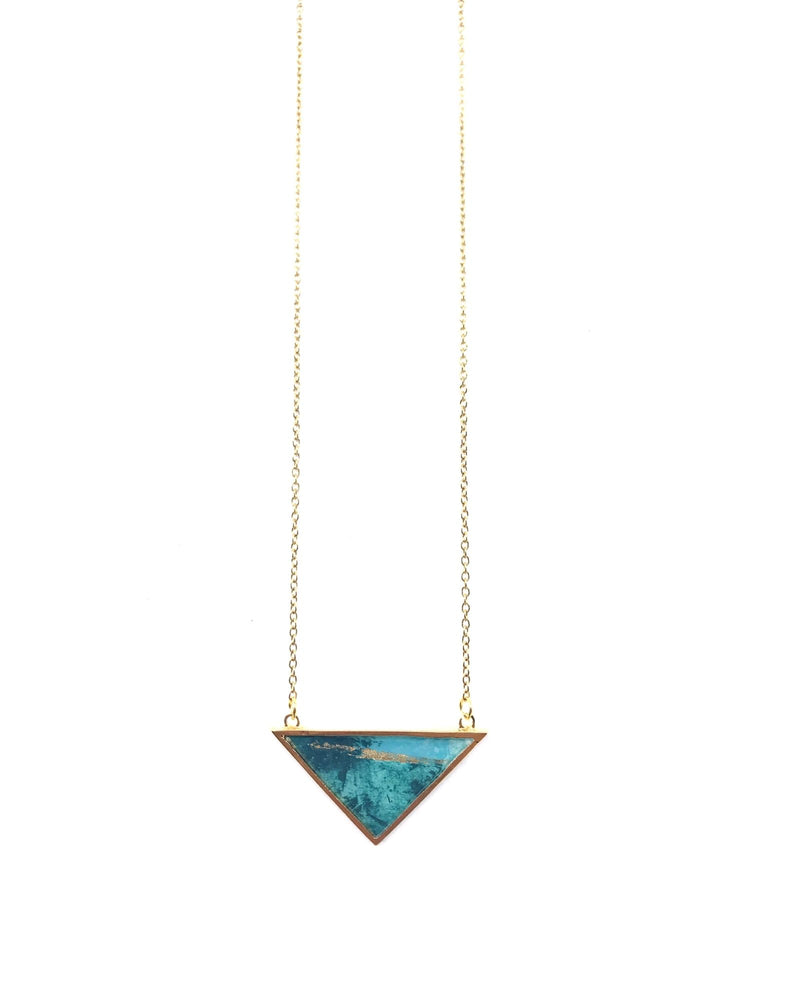 Long Iris Necklace - Turquoise Gold Plated