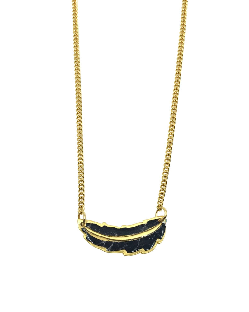 Jemma Necklace - Gold plated, Black marble