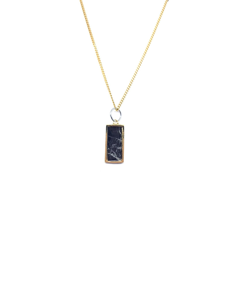 Léa Necklace - Gold Plated, Black Marble