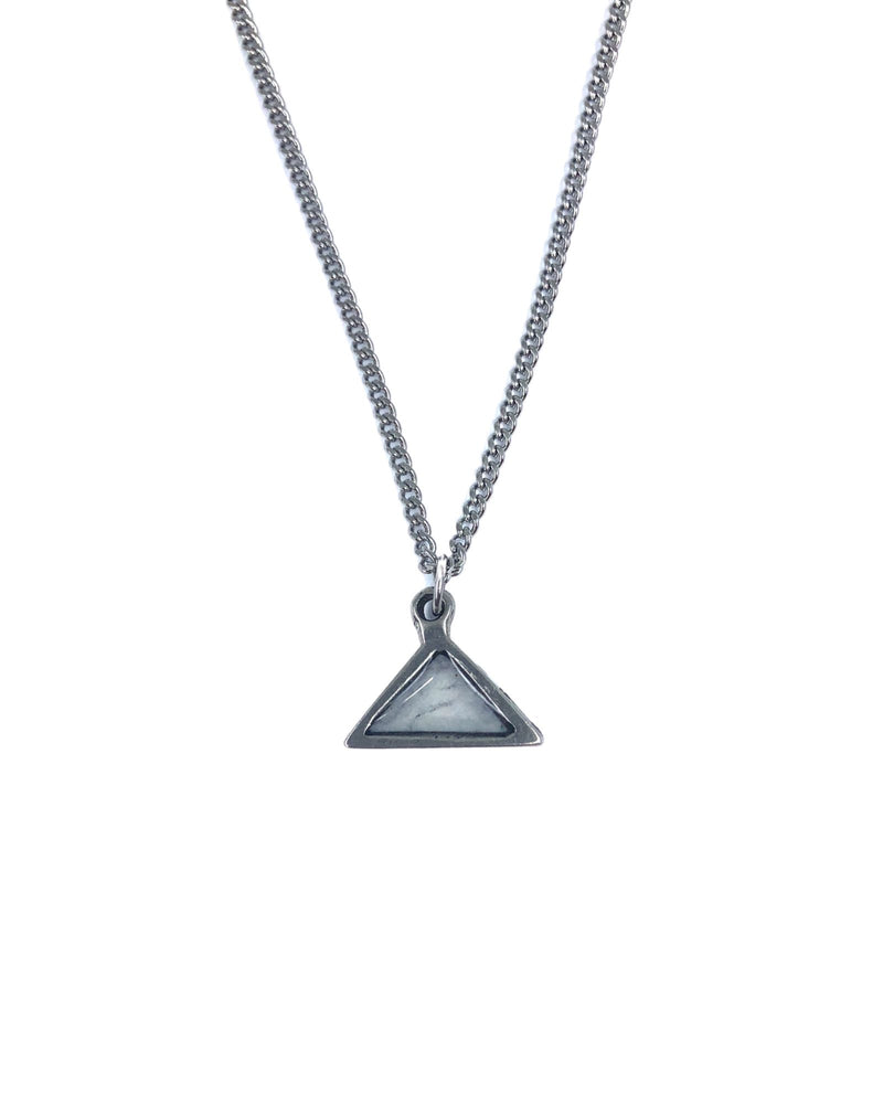 Meli Necklace - Pewter, White Marble