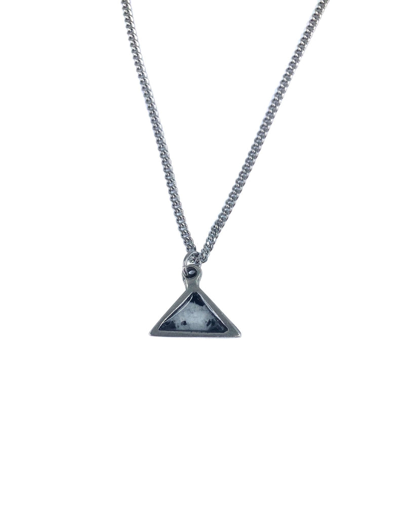 Meli Necklace - Pewter, Black Marble