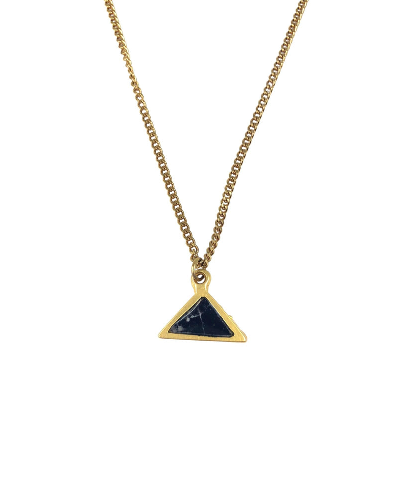 Meli Necklace - Gold Plated, Black Marble