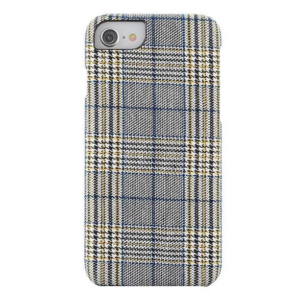 Fabric Case for iPhone 6/7/8 - Mustard and Blue Plaid