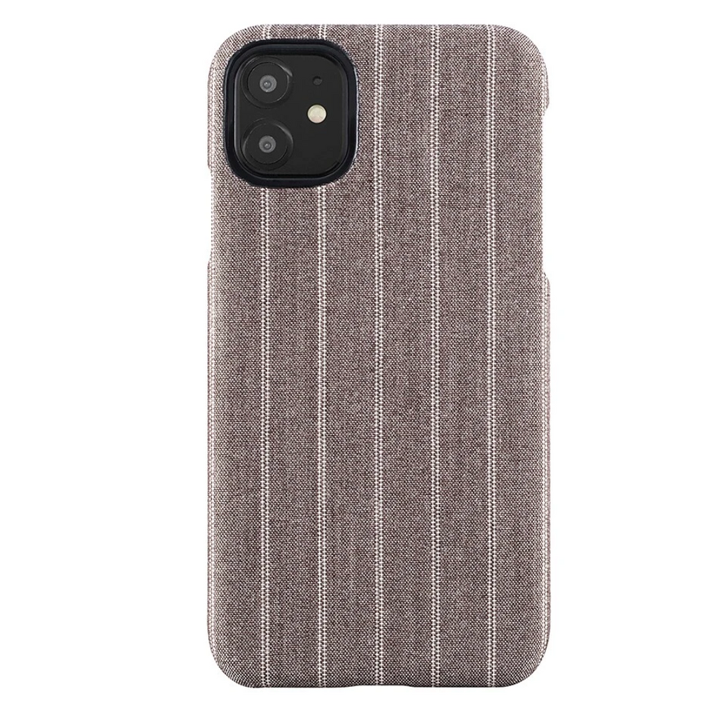 Fabric Case for iPhone 11/Xr - Brown Pinstripe
