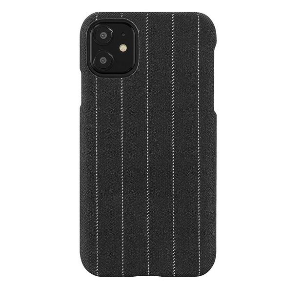 Fabric Case for iPhone 11/Xr - Charcoal Pinstripe