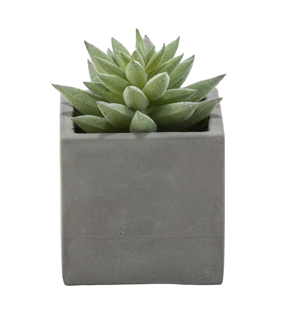 Square Pot Faux Plant, Cement Grey