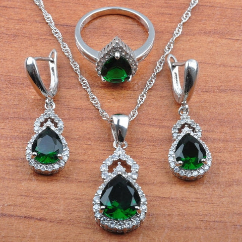 Crystal Necklace Pendant Earring