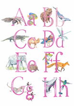 Load image into Gallery viewer, NAME - Personalised Name Print - Animal Alphabet print No.3