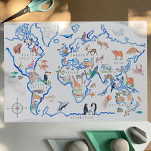 Load image into Gallery viewer, World map art print, with more than 70 animal illustrations across the 7 continents