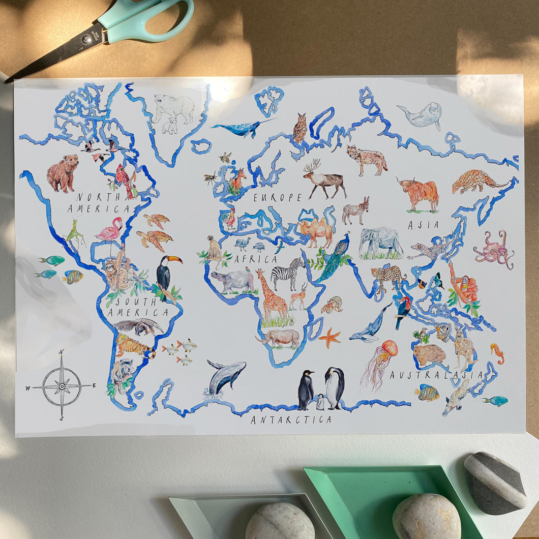 World map art print, with more than 70 animal illustrations across the 7 continents