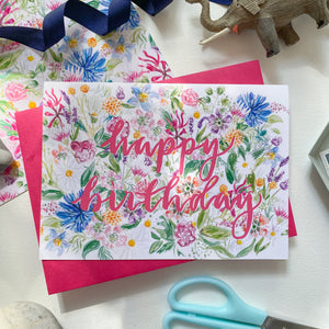 Happy Birthday - wildflower greetings card