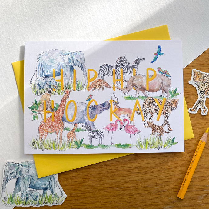 Hip Hip Hooray greetings card with safari animals and yellow envelope