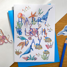 Load image into Gallery viewer, Happy birthday card with sea creatures and blue envelope