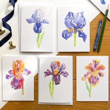 Load image into Gallery viewer, 'A Bunch of Irises' - set of 9 greetings cards
