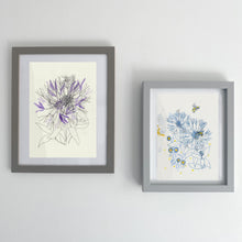 Load image into Gallery viewer, Cornflower Study with bees - monotype