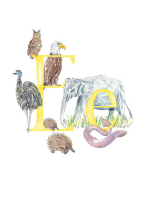 E, F, G, H - single letter personalisable print - Animal Alphabet print No.1