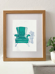 Green Armchair - monotype with chine-collé