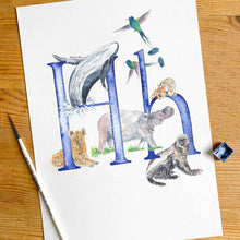 Load image into Gallery viewer, E, F, G, H - single letter personalisable print - Animal Alphabet print No.1