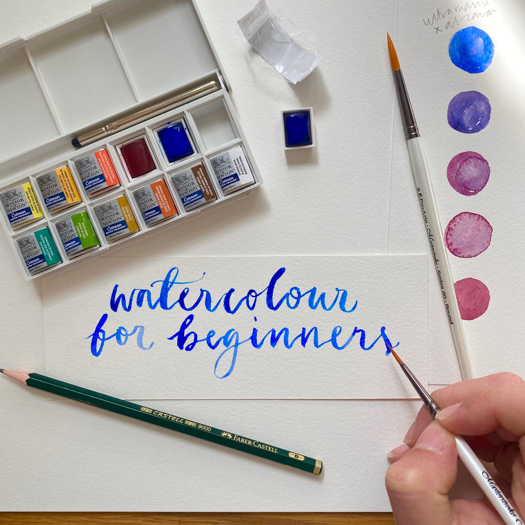 Watercolour for beginners - watercolour set with brushes and label