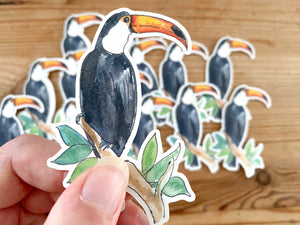 Stickers! - toucan, octopus, leopard, blue whale, gecko, elephant