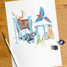 Load image into Gallery viewer, M, N, O, P - single letter personalisable print - Animal Alphabet print No.1
