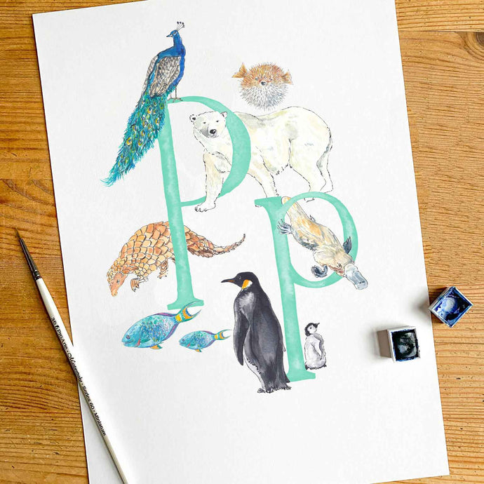 M, N, O, P - single letter personalisable print - Animal Alphabet print No.1