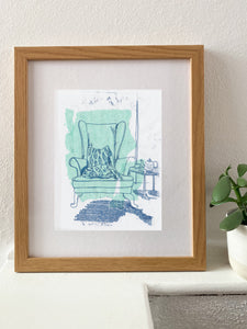 Pale Green Armchair - monotype with chine-collé