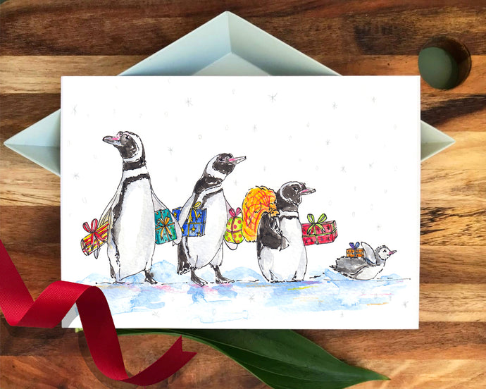'Four Penguins & Presents' Christmas card