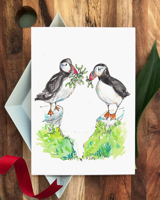 'Two Puffins Kissing' Christmas card