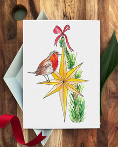 'Robin on Top of the Tree' Set of 6 Christmas cards