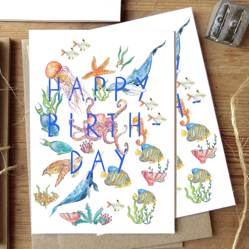 Happy Birthday - under the sea greetings card