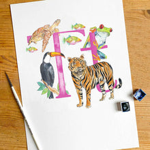 Load image into Gallery viewer, Q, R, S, T - single letter personalisable print - Animal Alphabet print No.1
