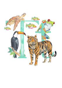 Q, R, S, T - single letter personalisable print - Animal Alphabet print No.1