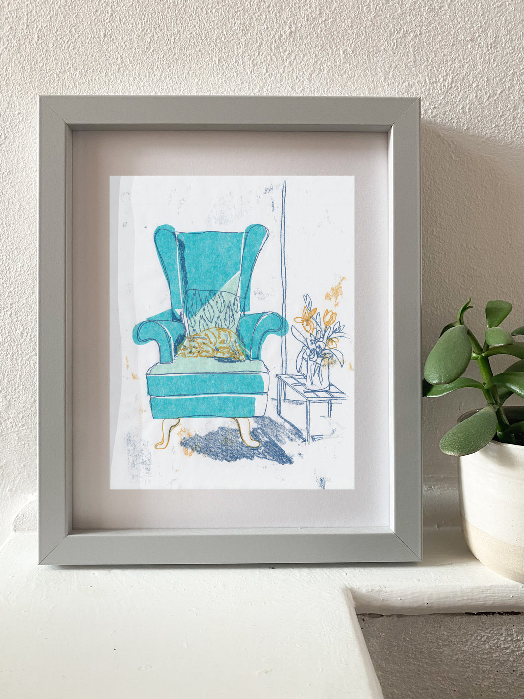 Turquoise Armchair - monotype with chine-collé