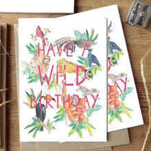 Load image into Gallery viewer, Wild birthday card with animals flatlay