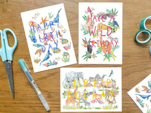 Load image into Gallery viewer, Three animal celebration cards - happy birthday, have a wild birthday, hip hip hooray