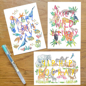 Animal Celebration cards - set of 6
