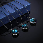 12 Constellations Gems Necklace Zodiac